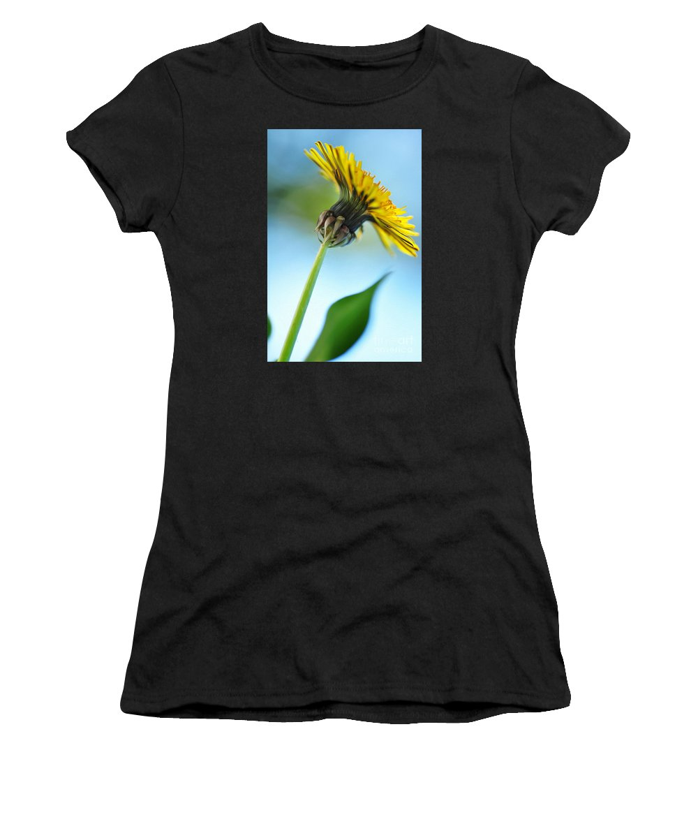 Photography Women's T-Shirt (Athletic Fit) featuring the photograph Dandelion Reaching High by Kaye Menner