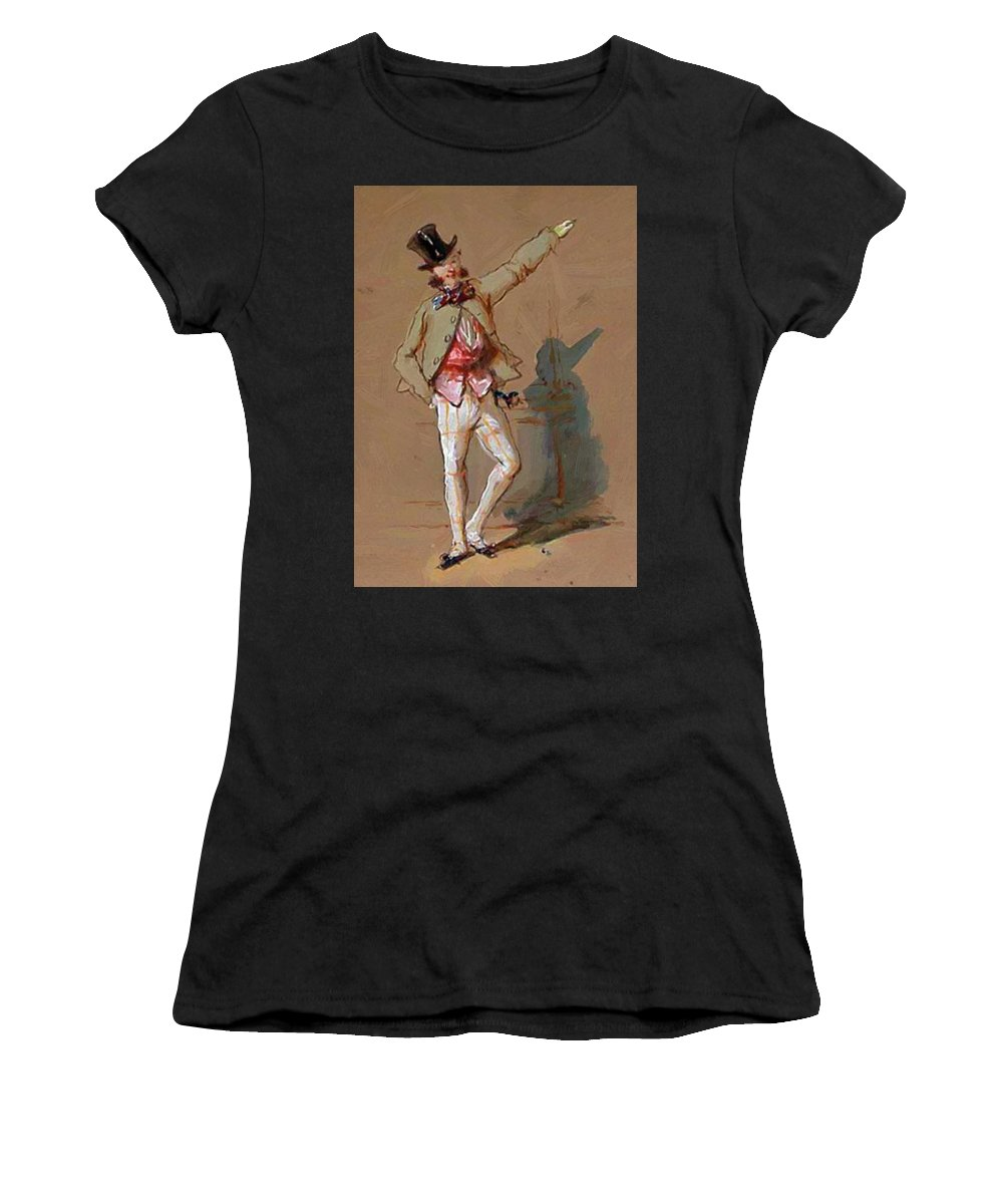 Dandy Women's T-Shirt (Athletic Fit) featuring the painting Dandy In Paris by Gavarni Paul