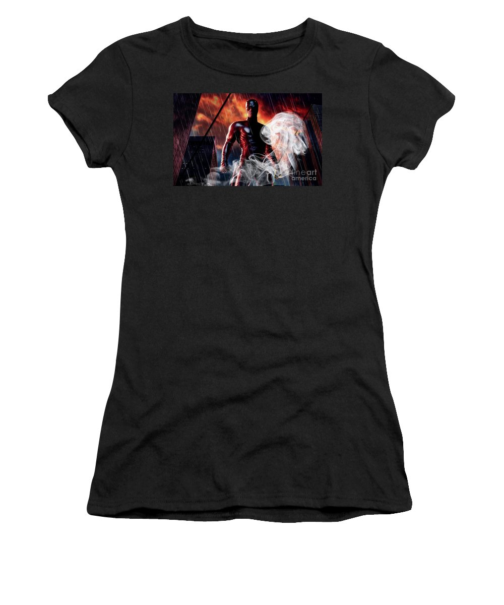 Daredevil Women's T-Shirt (Athletic Fit) featuring the mixed media Daredevil Collection by Marvin Blaine