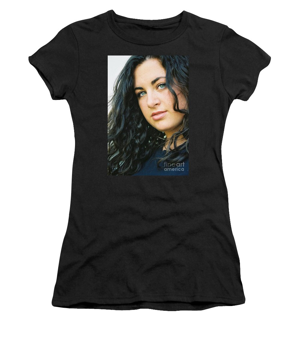 Blue Eyes Women's T-Shirt (Athletic Fit) featuring the photograph Dark Beauty by Nadine Rippelmeyer