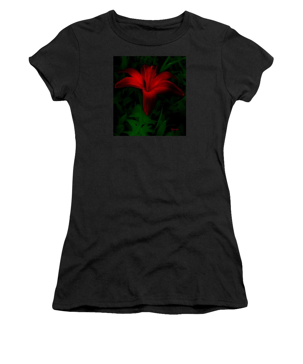 Lily Women's T-Shirt featuring the painting Dark Star by RC DeWinter