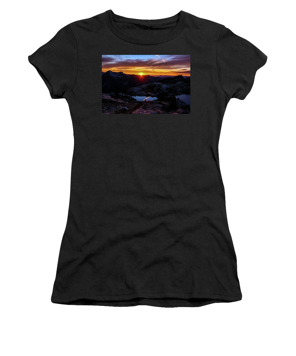 Dark Women's T-Shirt (Athletic Fit) featuring the photograph Dark Sunset Over The Cascades by Brandon Swanson
