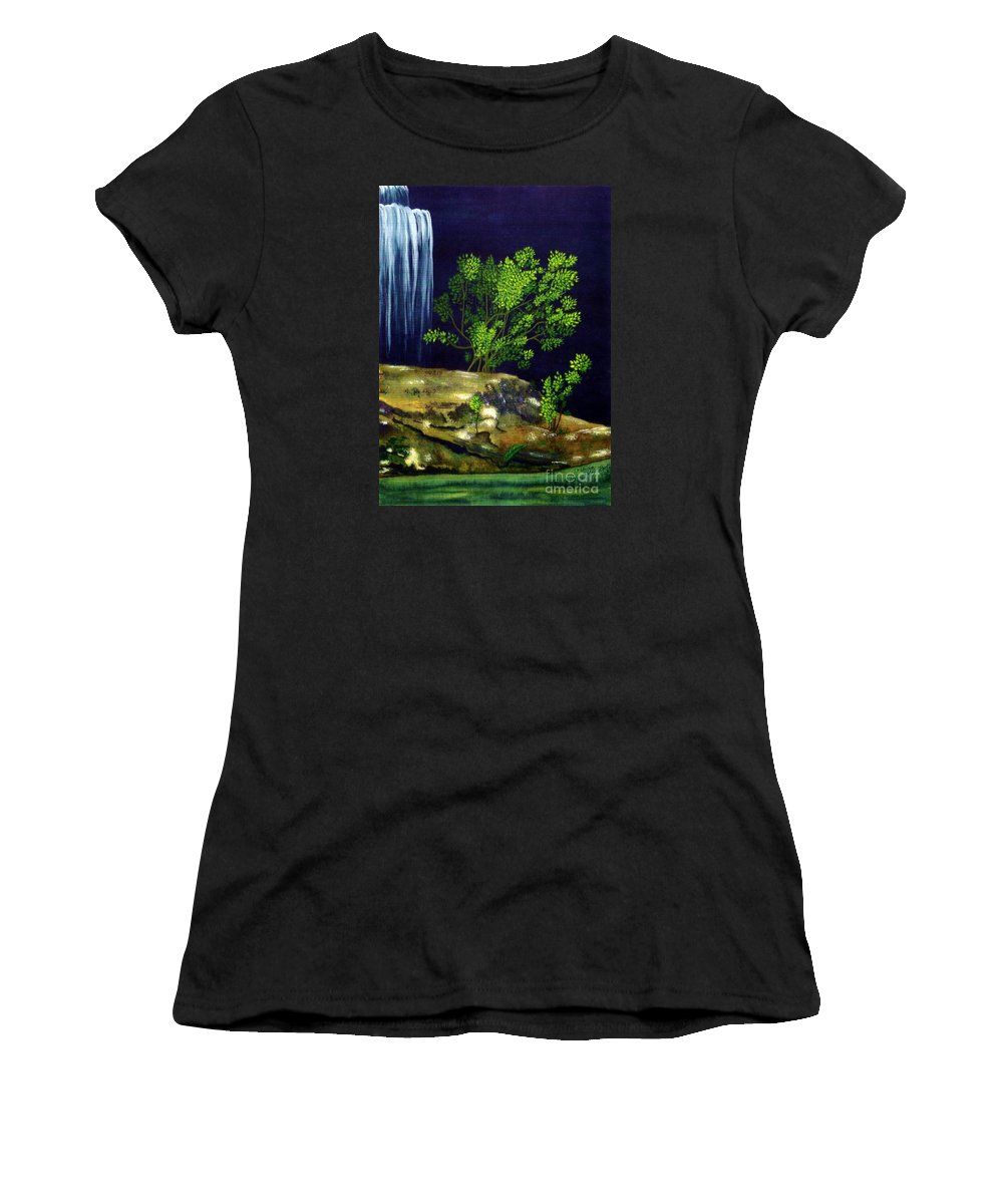 Fine Art Women's T-Shirt (Athletic Fit) featuring the painting Dark Waters by Patricia Griffin Brett