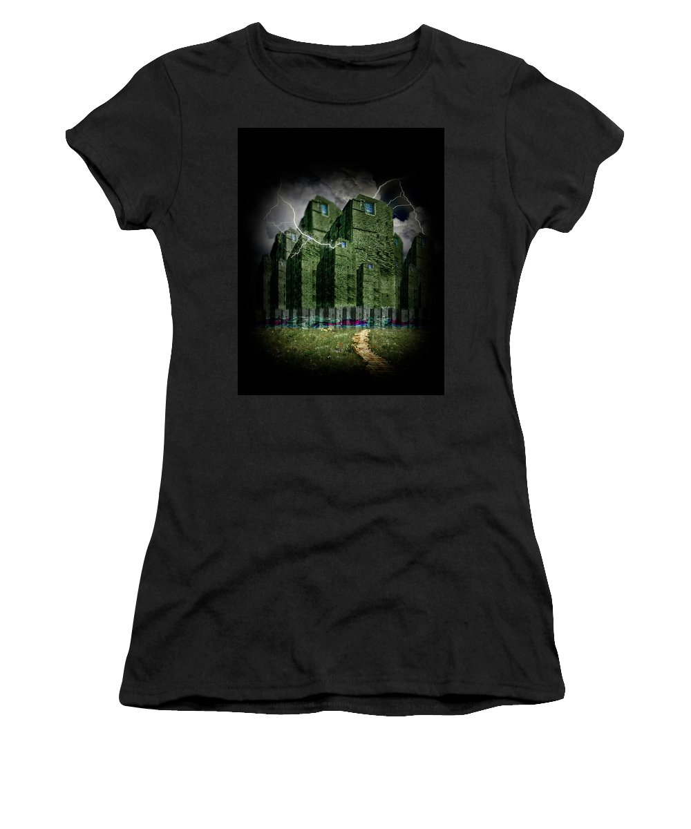Halloween Women's T-Shirt (Athletic Fit) featuring the mixed media Darkside Of The City by Gravityx9 Designs