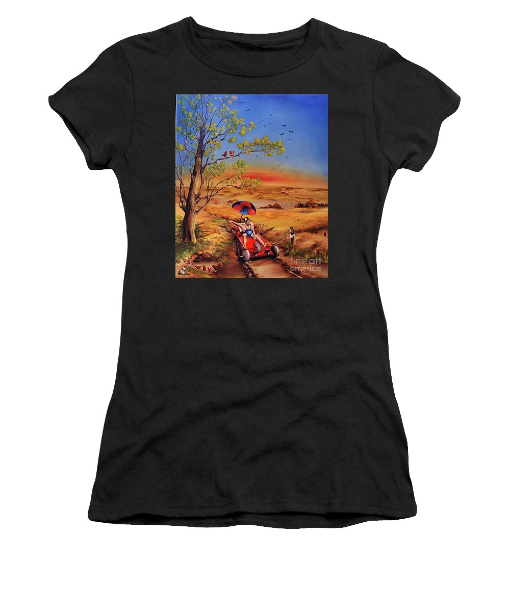Self Powered Vehicle Women's T-Shirt (Athletic Fit) featuring the painting Das Gluck by Ilona Van Hoek