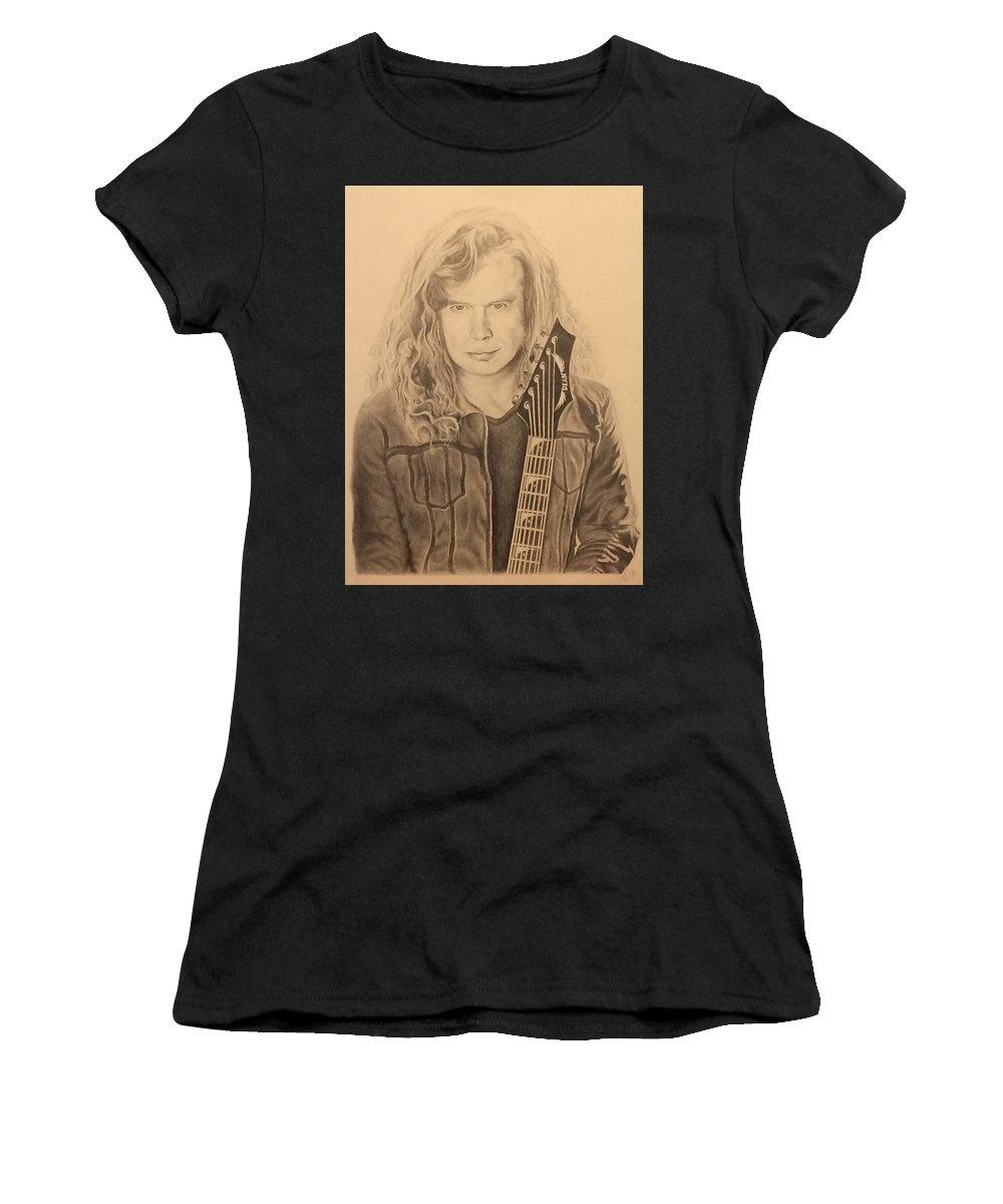 Dave Mustaine Women's T-Shirt featuring the drawing Dave Mustaine by Derek Branham