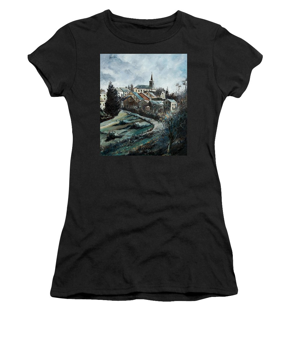 Village Women's T-Shirt (Athletic Fit) featuring the painting Daverdisse 78 by Pol Ledent