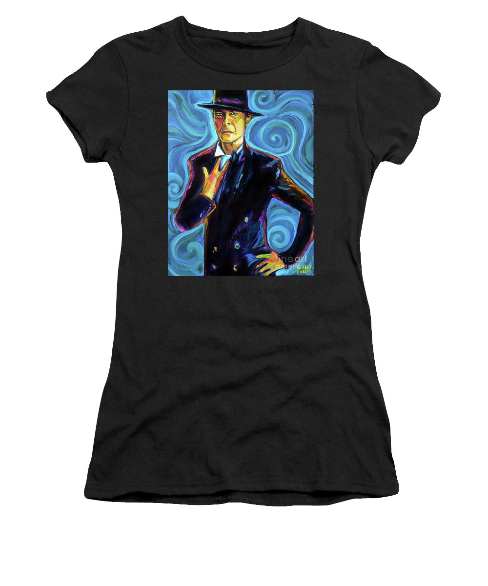 Bowie Women's T-Shirt (Athletic Fit) featuring the painting David Bowie by Robert Phelps