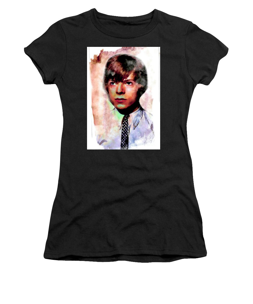 David Bowie Women's T-Shirt (Athletic Fit) featuring the painting David Bowie Teenager Aquarelle by Felix Von Altersheim