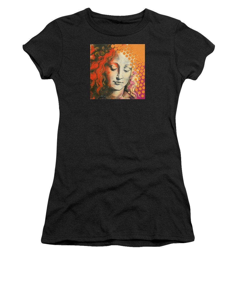 Figurative Women's T-Shirt (Athletic Fit) featuring the painting Davinci's Head by Jean Pierre Rousselet