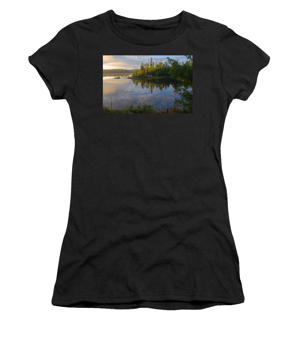 Boundary Waters Canoe Area Wilderness Women's T-Shirt (Athletic Fit) featuring the photograph Dawn On The Basswood River by Larry Ricker