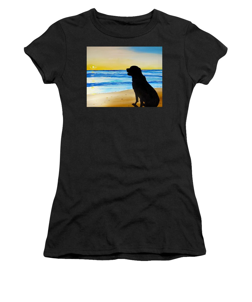 Sunset Painting Women's T-Shirt featuring the painting Days End by Carol Blackhurst