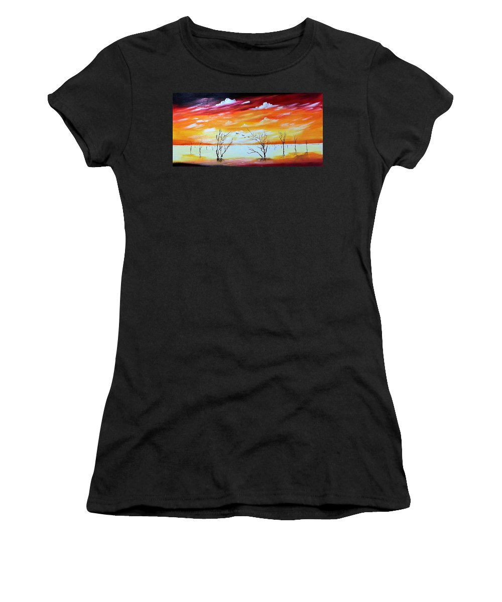 Dead Trees Women's T-Shirt featuring the painting Dead Trees Reflection by Deepa Sahoo