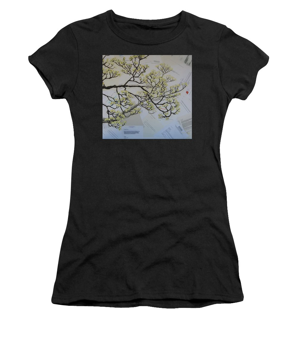 Collage Women's T-Shirt (Athletic Fit) featuring the painting Dear Artist by Leah Tomaino