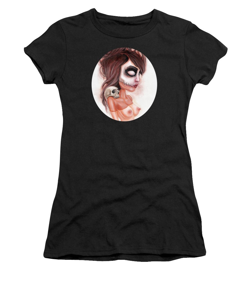 Pop Surrealism Women's T-Shirt featuring the painting Deathlike Skull Impression by Rouble Rust