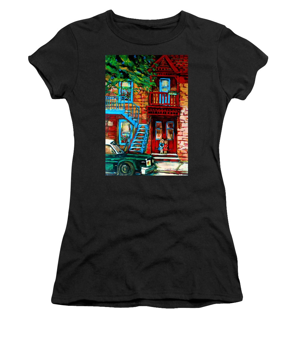 Montreal Streetscenes Women's T-Shirt featuring the painting Debullion Street Neighbors by Carole Spandau