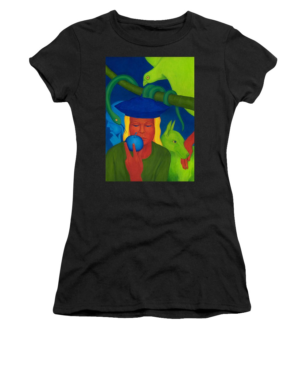 Surreal Women's T-Shirt (Athletic Fit) featuring the painting Decision. by Andrzej Pietal