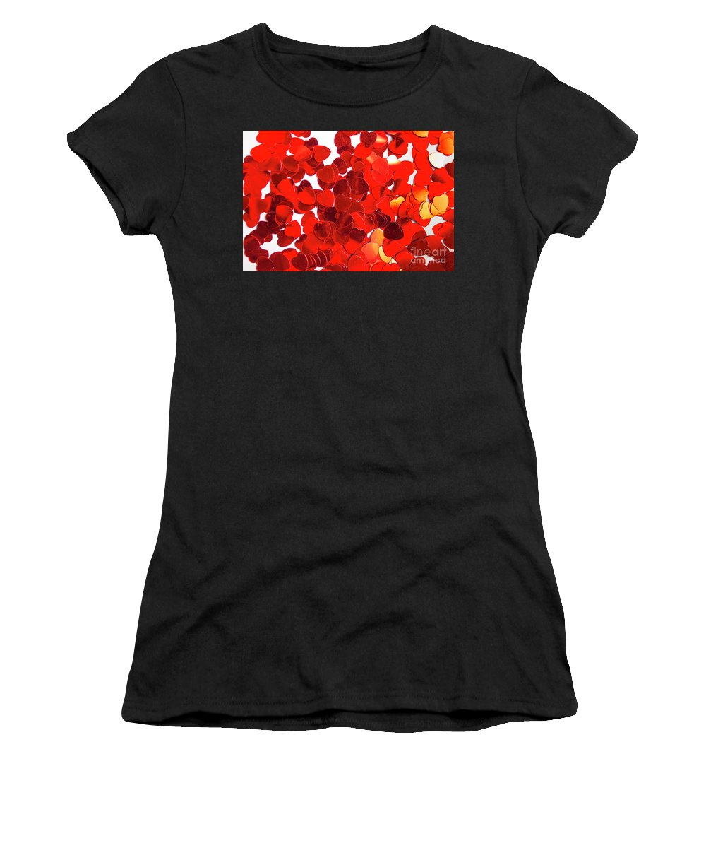 Confetti Women's T-Shirt featuring the photograph Decorative Heart Background by Jorgo Photography - Wall Art Gallery