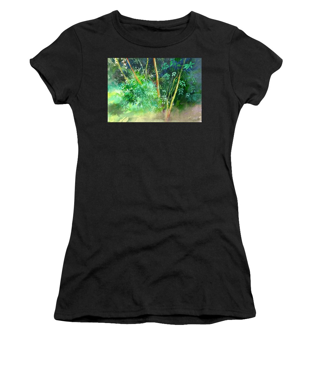 Water Color Women's T-Shirt (Athletic Fit) featuring the painting Deep by Anil Nene