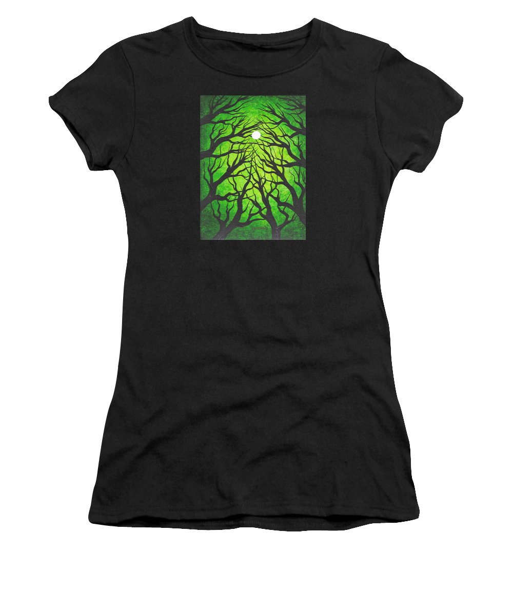 Trees Women's T-Shirt (Athletic Fit) featuring the painting Deep Green Forest by Jordanka Yaretz