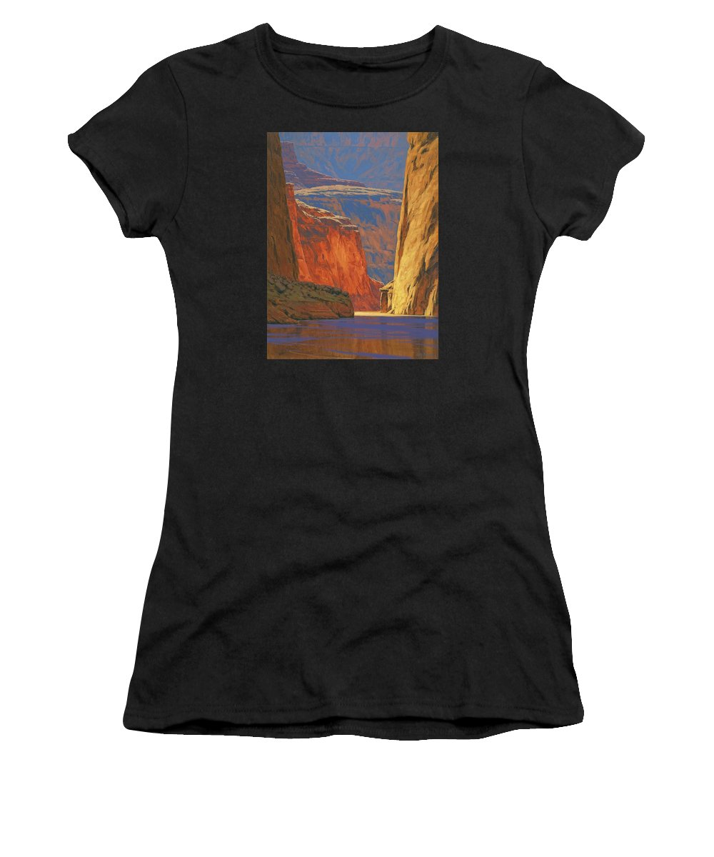 Grand Canyon Women's T-Shirt (Athletic Fit) featuring the painting Deep In The Canyon by Cody DeLong