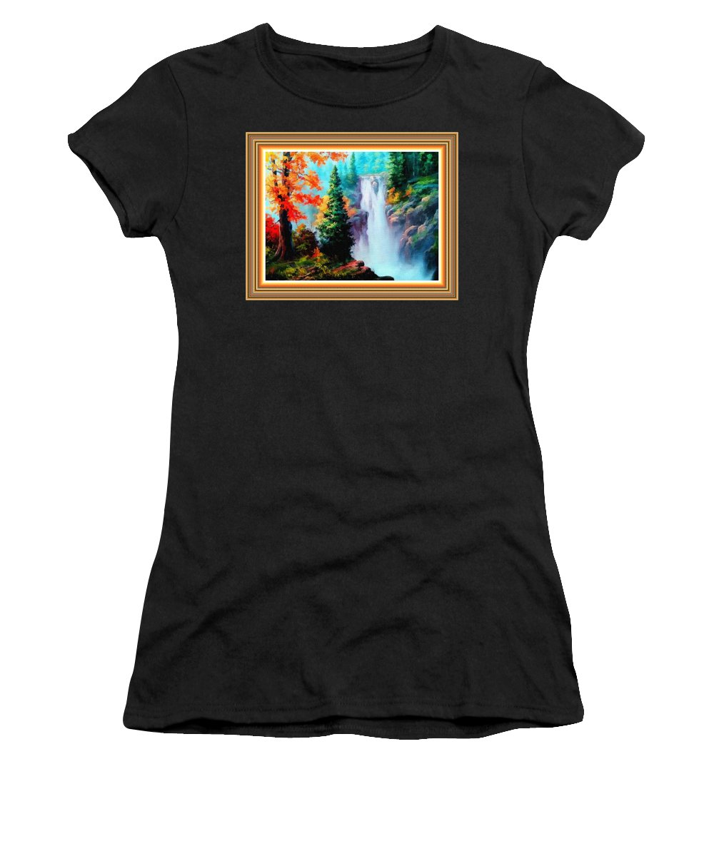 Sky Trees Women's T-Shirt featuring the painting Deep Jungle Waterfall Scene L B With Alt. Decorative Ornate Printed Frame. by Gert J Rheeders