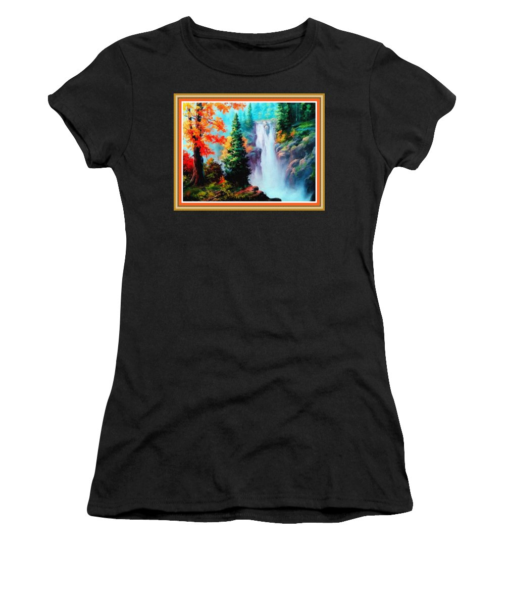 Sky Trees Women's T-Shirt featuring the painting Deep Jungle Waterfall Scene L B With Decorative Ornate Printed Frame. by Gert J Rheeders