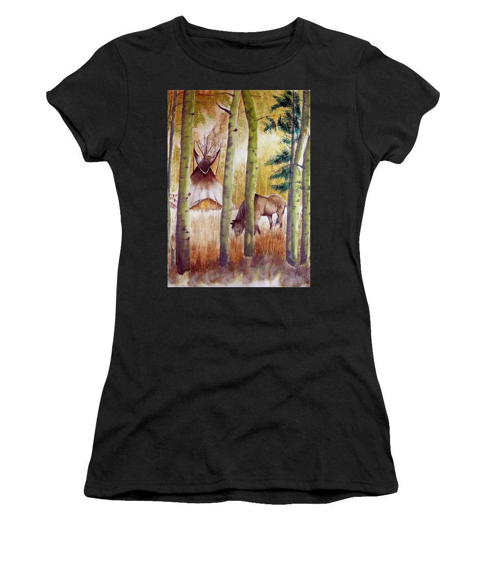 American Women's T-Shirt (Athletic Fit) featuring the painting Deep Woods Camp by Jimmy Smith