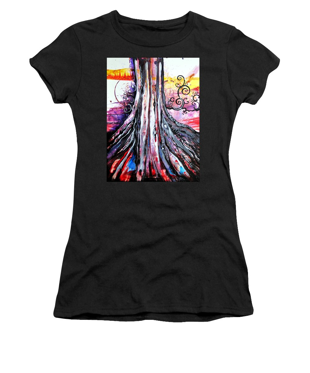Art Women's T-Shirt (Athletic Fit) featuring the painting Deeply Rooted II by Shadia Derbyshire