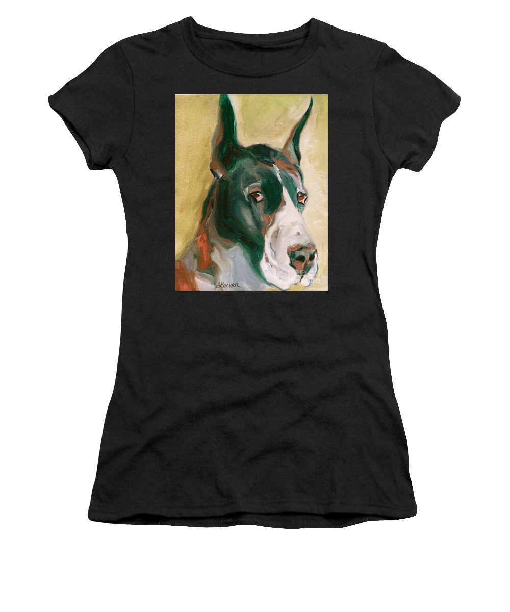 Greeting Cards Women's T-Shirt (Athletic Fit) featuring the painting Delicious Dane by Susan A Becker