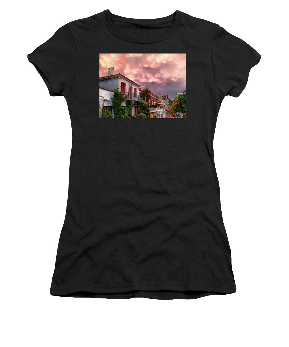 Landscape Women's T-Shirt (Athletic Fit) featuring the photograph Delphi Greece Sunset by Alan Olmstead