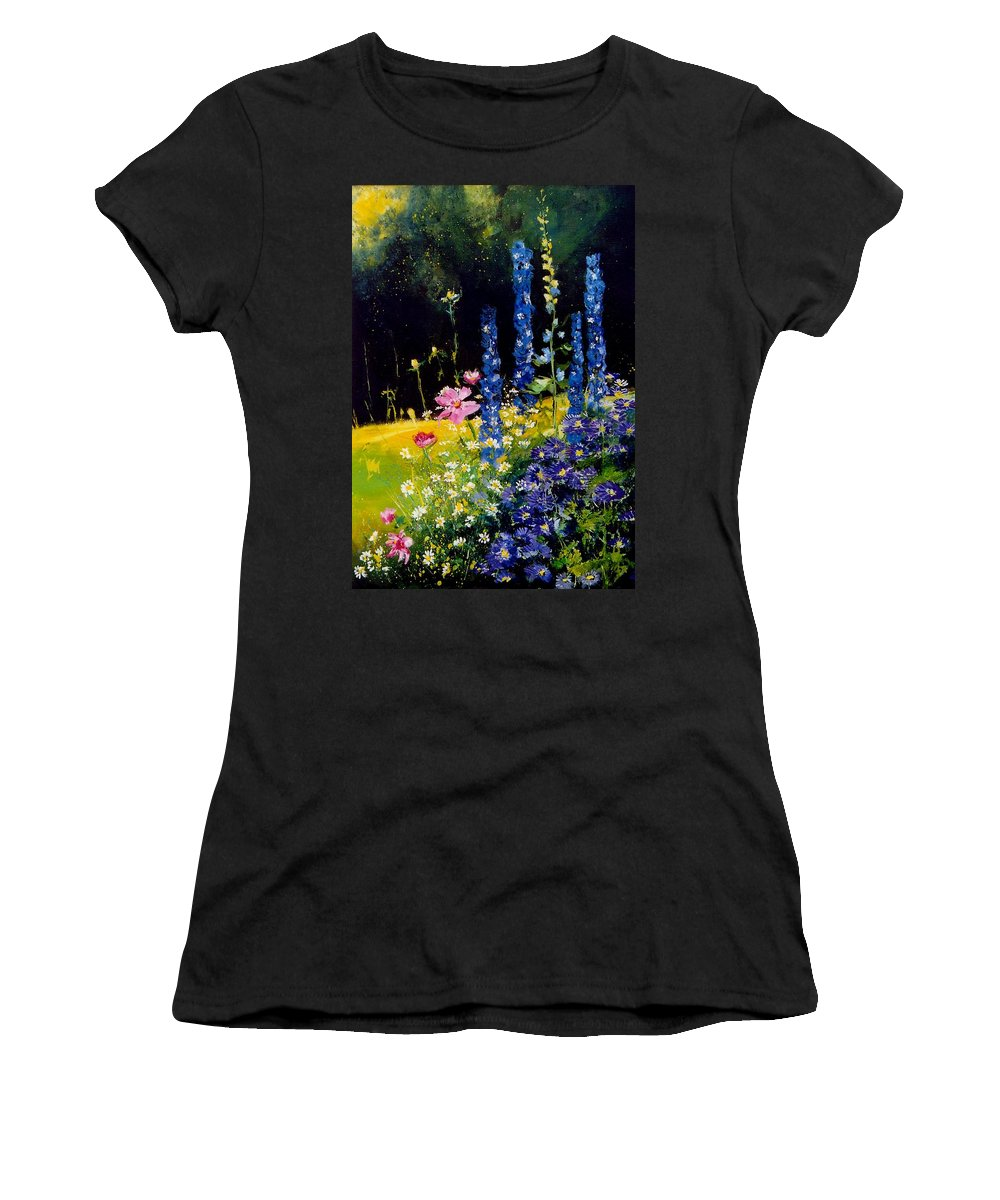 Poppies Women's T-Shirt (Athletic Fit) featuring the painting Delphiniums by Pol Ledent