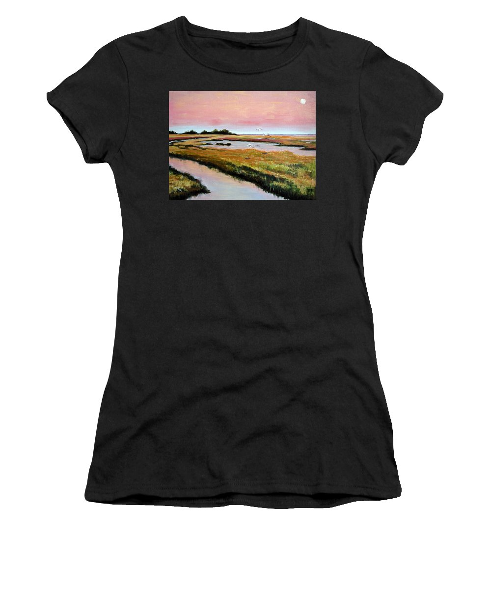 Acrylic Women's T-Shirt (Athletic Fit) featuring the painting Delta Sunrise by Suzanne McKee