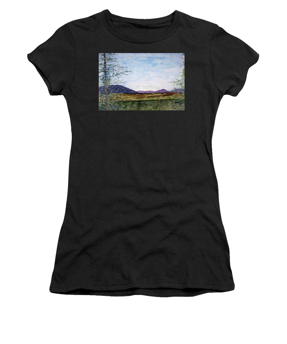 Alaska Art Women's T-Shirt (Athletic Fit) featuring the painting Denali In July by Larry Wright