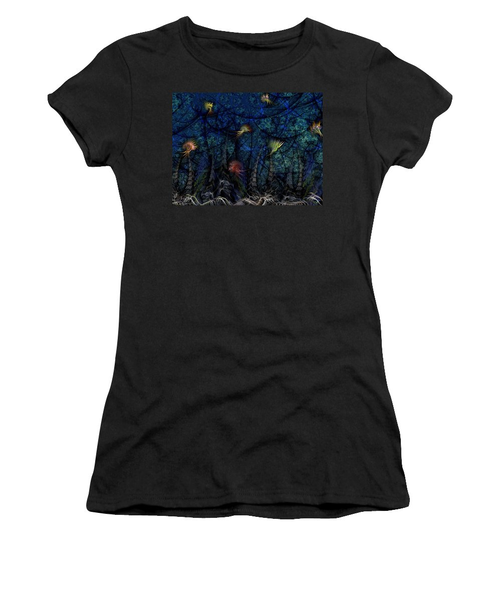 Abstract Women's T-Shirt (Athletic Fit) featuring the digital art Denizens by Casey Kotas