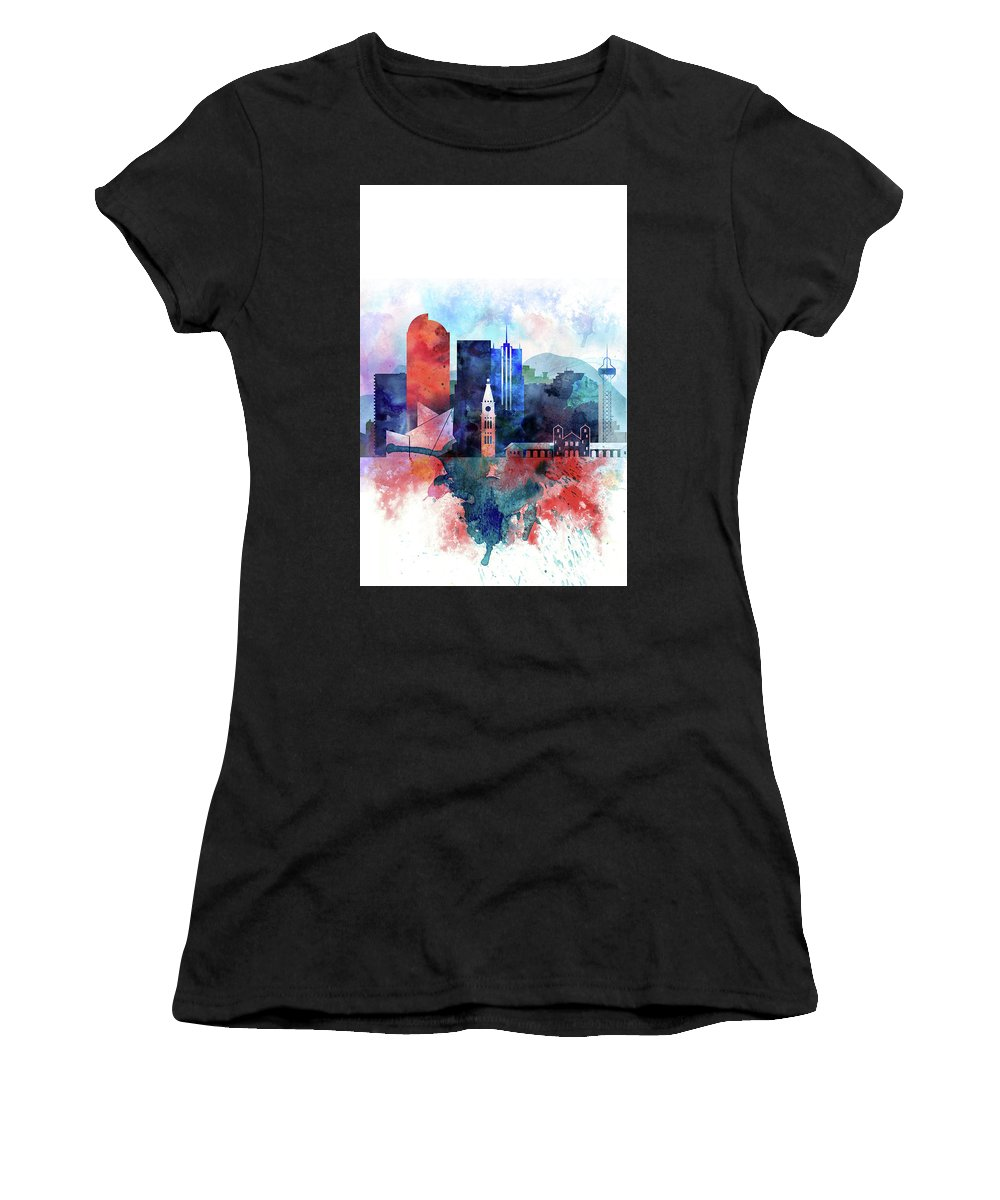 Denver Women's T-Shirt (Athletic Fit) featuring the painting Denver, Colorado Skyline by Dim Dom
