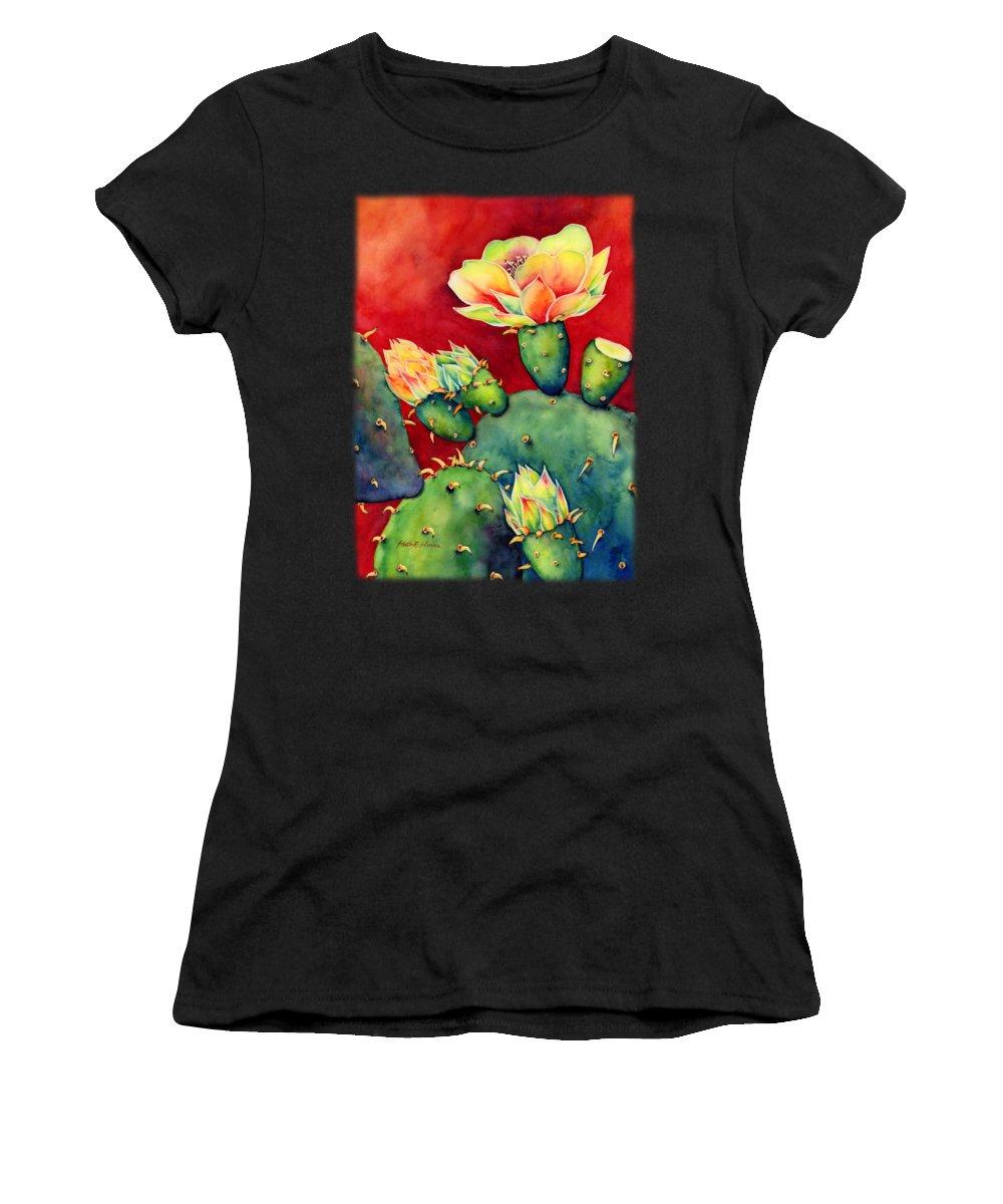 Cactus Women's T-Shirt featuring the painting Desert Bloom by Hailey E Herrera