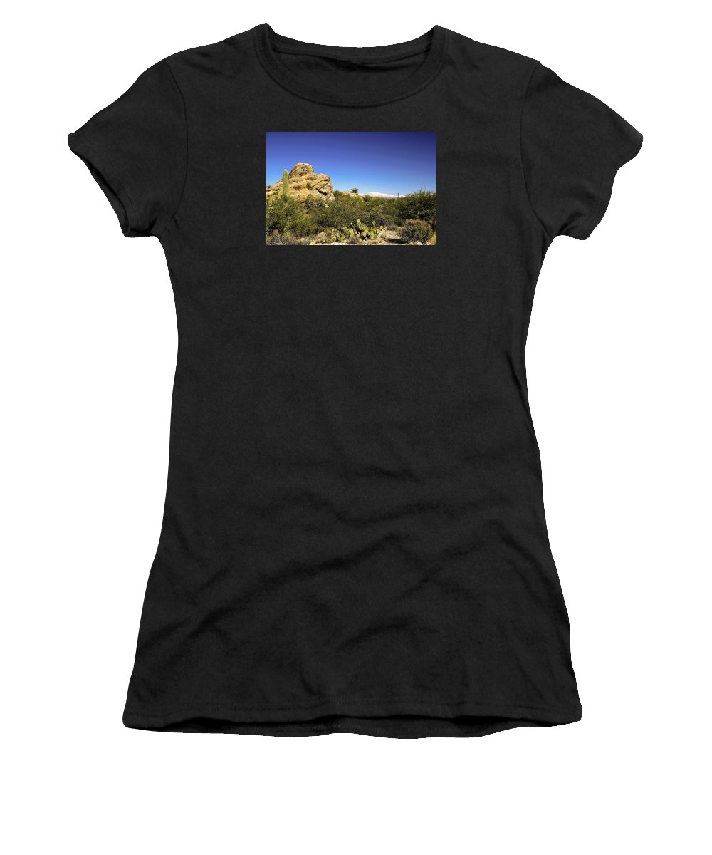 Desert Plants Women's T-Shirt (Athletic Fit) featuring the photograph desert plants in Saguaro National Park by Sally Weigand