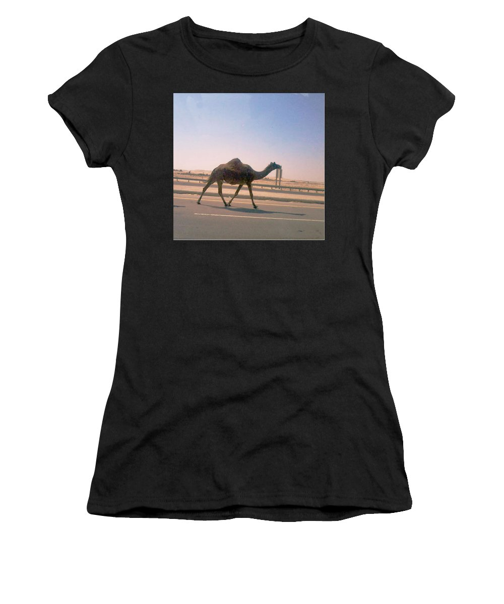 Desert Women's T-Shirt (Athletic Fit) featuring the photograph Desert Safari by Nilu Mishra