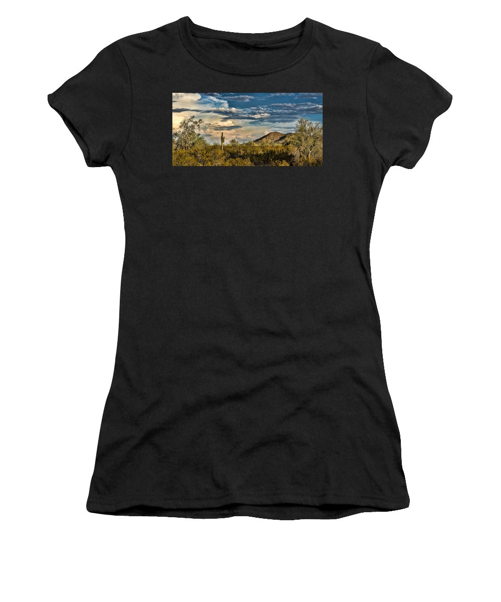 Desert Cactus Women's T-Shirt featuring the photograph Desert Sky - San Tan Arizona by Jon Berghoff