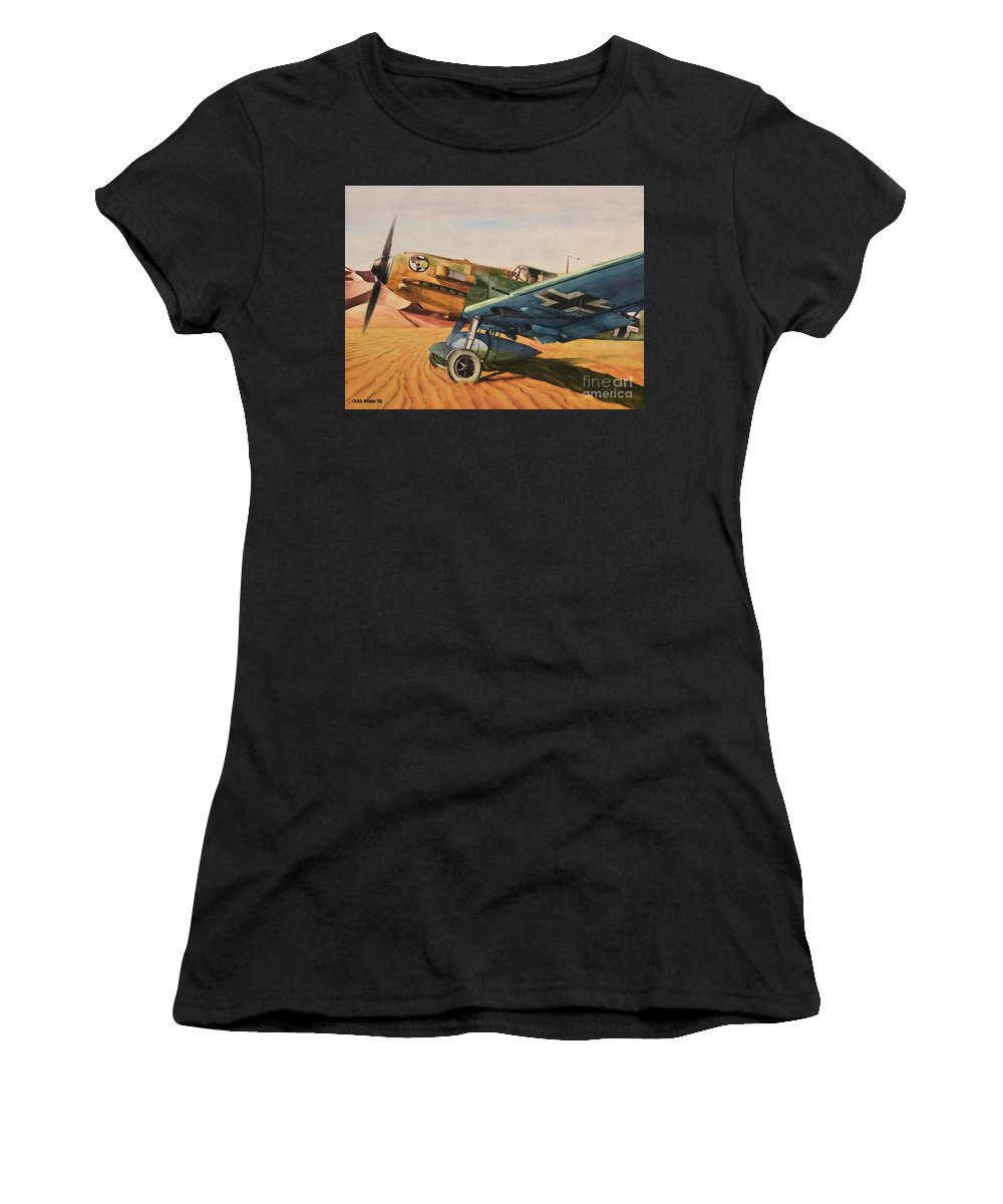 Luftwaffe Women's T-Shirt (Athletic Fit) featuring the painting Desert Storm by Oleg Konin