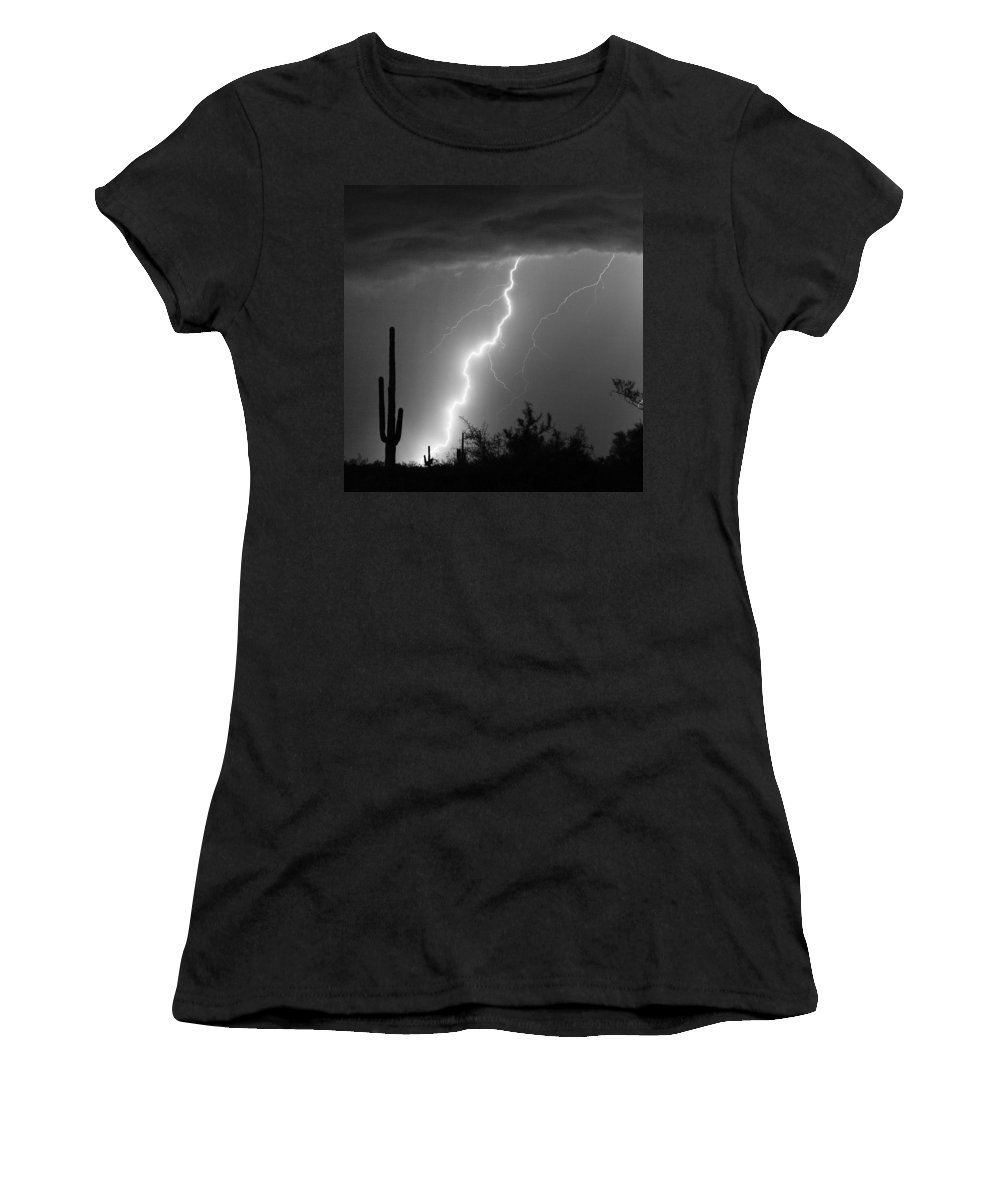 Black And White Women's T-Shirt (Athletic Fit) featuring the photograph Desert Striking In Black And White by James BO Insogna