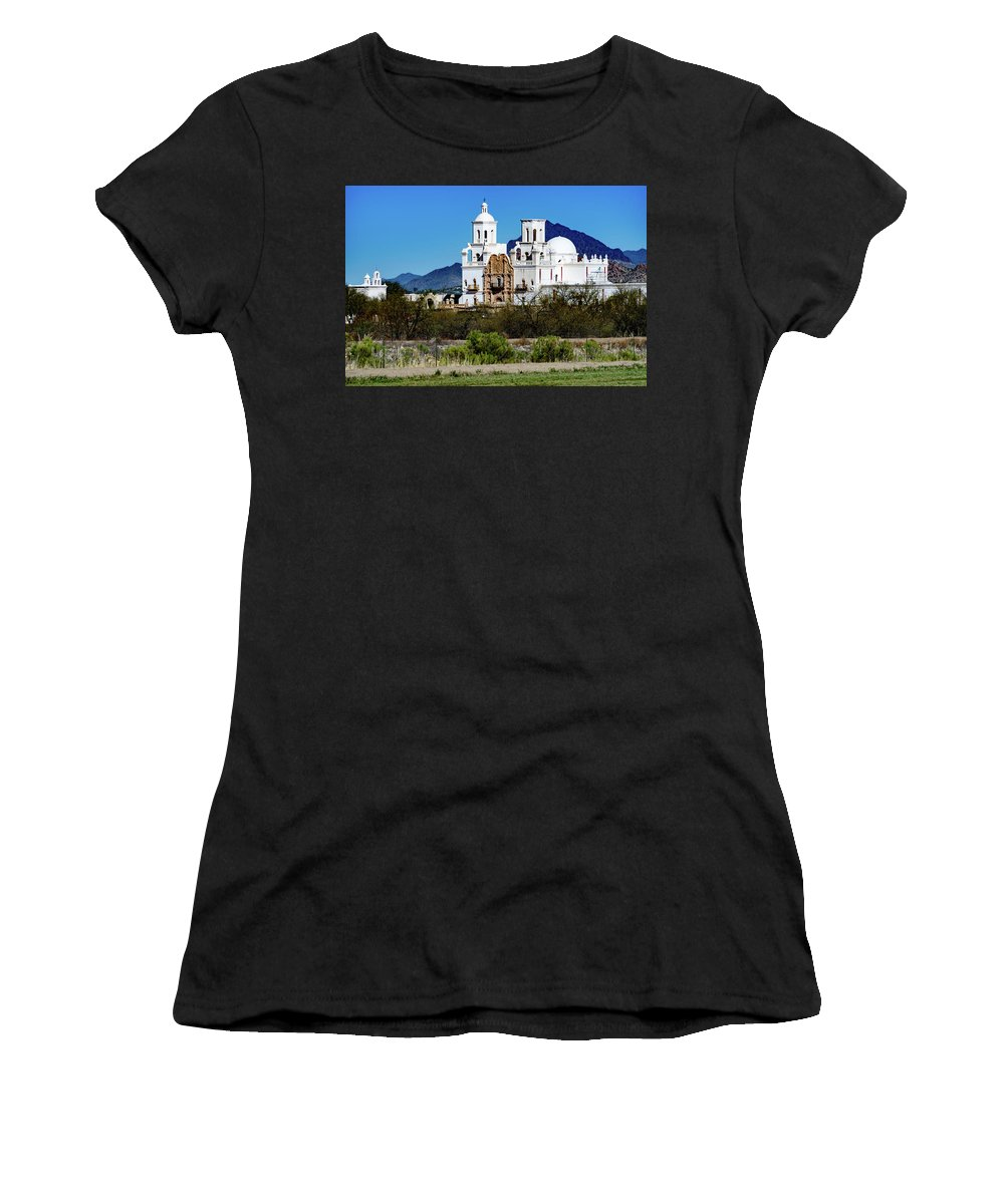 San Xavier Del Bac Mission Women's T-Shirt (Athletic Fit) featuring the photograph Desert View - San Xavier Mission - Tucson Arizona by Jon Berghoff