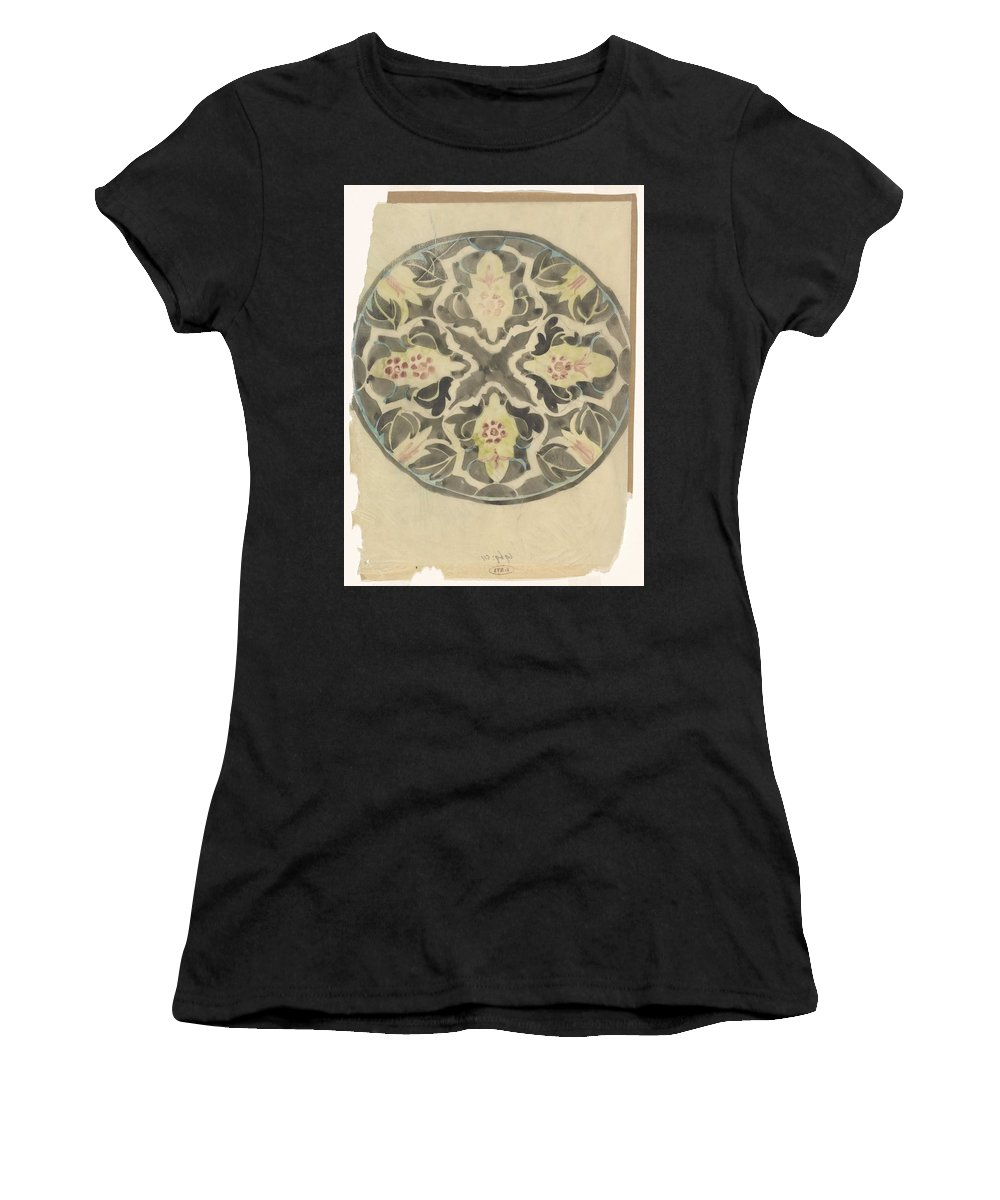 Pattern Women's T-Shirt featuring the painting Design For A Plate With Floral Decoration, Carel Adolph Lion Cachet, 1874 - 1945 by Carel Adolph Lion Cachet