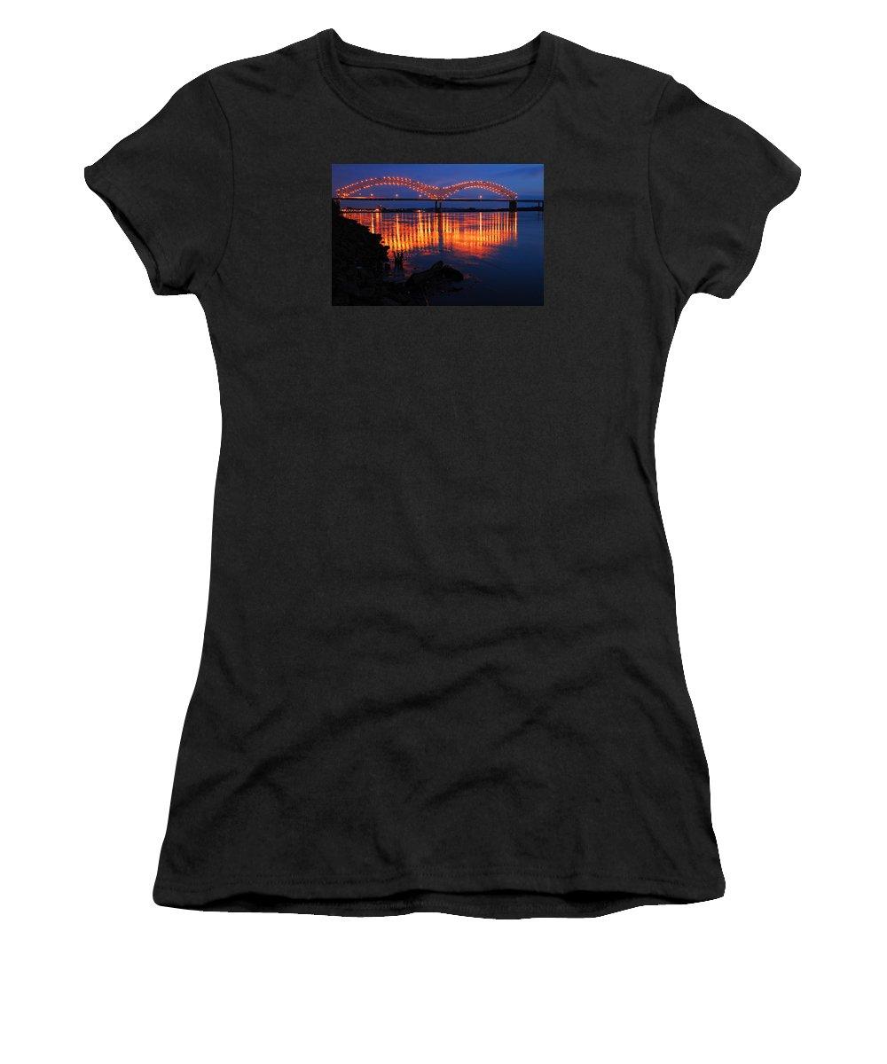 Memphis Women's T-Shirt (Athletic Fit) featuring the photograph Desoto Bridge Refections by James Kirkikis