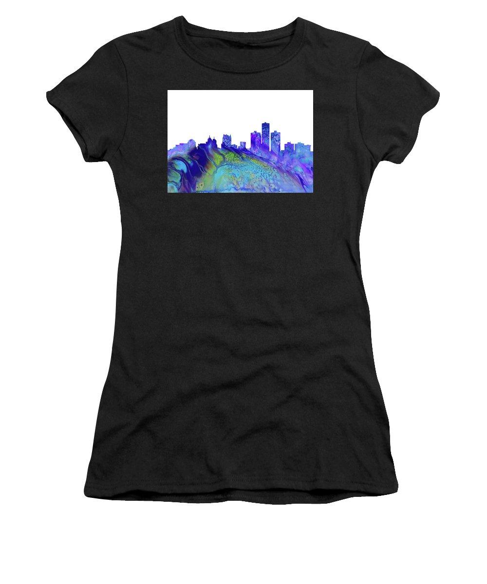 Detroit City Skyline Women's T-Shirt featuring the digital art Detroit Skyline 3 by Erzebet S