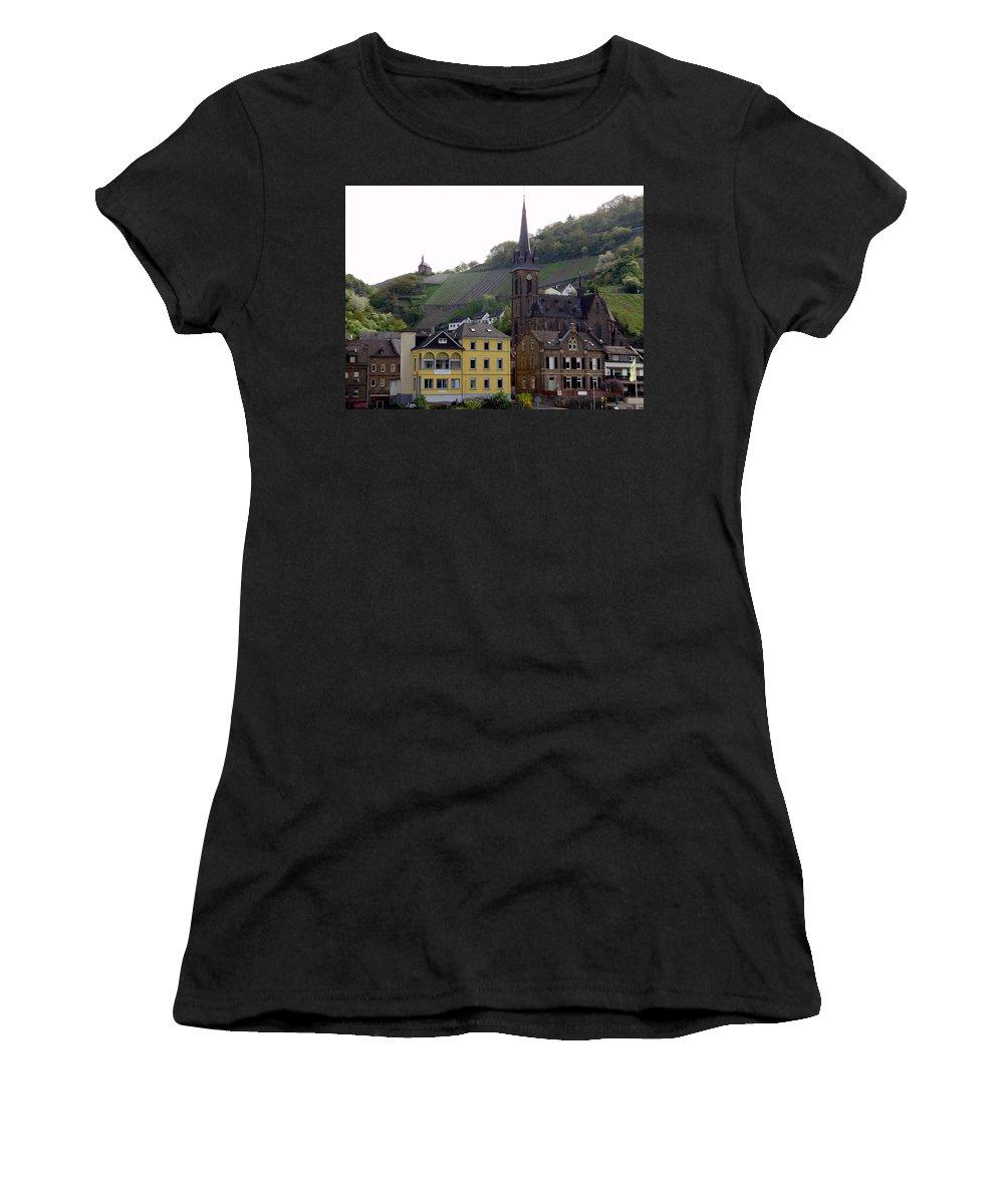 Travel Women's T-Shirt (Athletic Fit) featuring the photograph Deutsche Spire by Ruth Ann Mertens