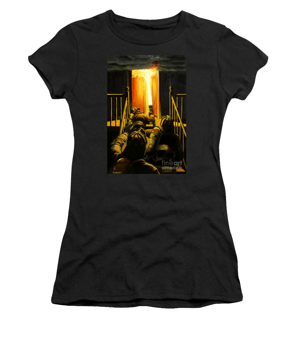 Firefighting Women's T-Shirt (Athletic Fit) featuring the painting Devil's Stairway by Paul Walsh