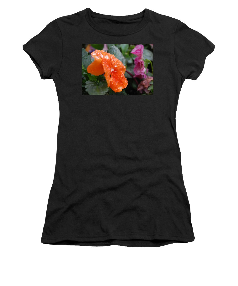 Flower Women's T-Shirt (Athletic Fit) featuring the photograph Dewy Pansy 2 - Side View by Amy Fose