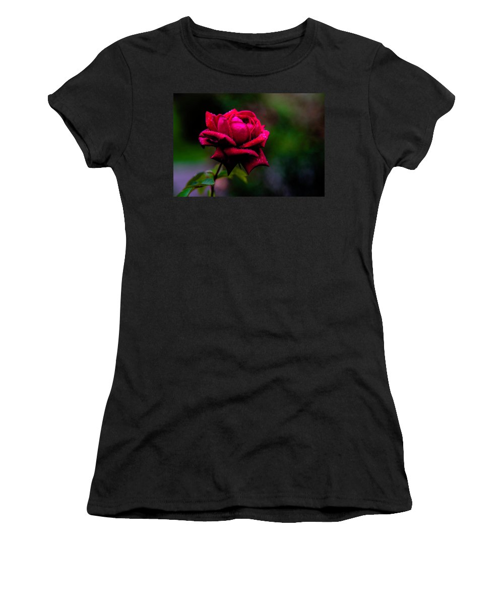 Flower Women's T-Shirt (Athletic Fit) featuring the photograph Diamonds On A Rose by Anthony Zeljeznjak